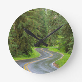 Sol Duc River Road through forest Round Clock