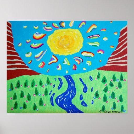 Sol e impresión de los arco iris poster