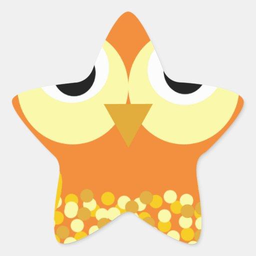 Sol el búho adorable calcomanía forma de estrella personalizadas