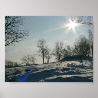 Sol en la colina del árbol Nevado Póster