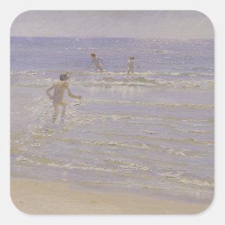 Sol en Skagen: Muchachos que nadan, 1892 Pegatina Cuadrada