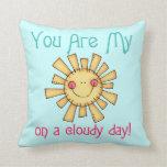 Sol en un día nublado almohadas