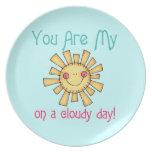 Sol en un día nublado plato para fiesta