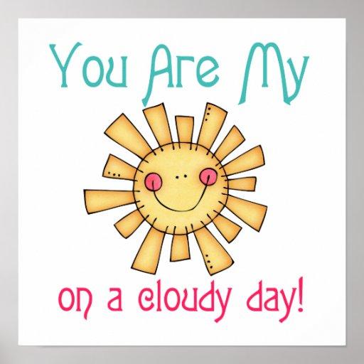 Sol en un día nublado poster