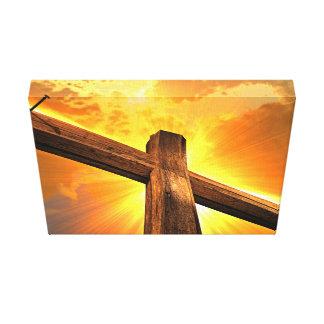 Sol en una cruz de madera lona estirada galerias