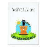 Sol feliz del día de la marmota invitaciones personalizada