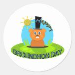 Sol feliz del día de la marmota pegatina redonda