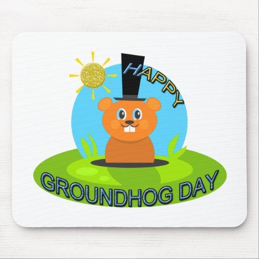Sol feliz del día de la marmota alfombrillas de ratón