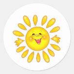 sol feliz pegatina redonda