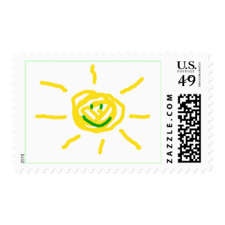 Sol feliz sellos postales