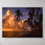 sol fijado en la playa poster