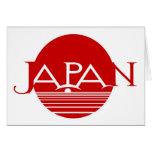 Sol naciente de Japón en rojo Tarjetón