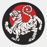 Sol naciente del tigre de Shotokan Etiquetas Redondas