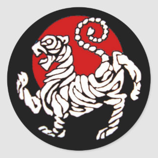 Sol naciente del tigre de Shotokan Pegatina Redonda