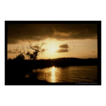 sol naciente en el lago impresiones