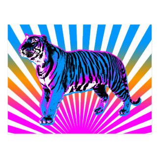 Sol naciente retro del tigre del tigre 80s de tarjeta postal