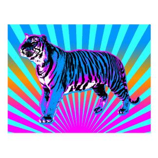 Sol naciente retro del tigre del tigre 80s de tarjetas postales