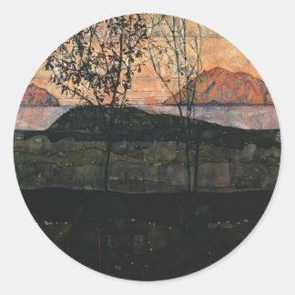 Sol poniente de Egon Schiele- Pegatina Redonda