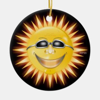 Sol sonriente adorno navideño redondo de cerámica