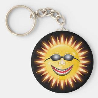 Sol sonriente llavero redondo tipo pin