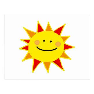 Sol sonriente tarjeta postal