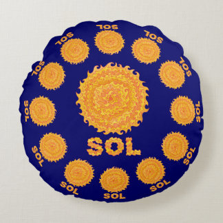 Sol The Sun Space Geek Yellow And Orange Star Round Pillow