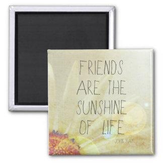 Sol y amistad imán cuadrado