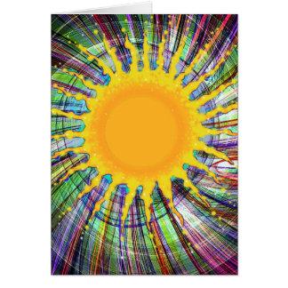 Sol y arco iris tarjeta de felicitación