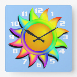 Sol y cielo azul reloj cuadrado