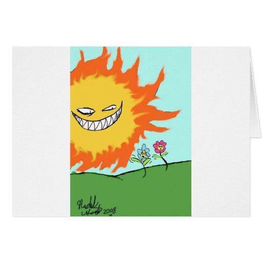 Sol y flores tarjeta
