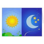 sol y luna tarjeta de felicitación