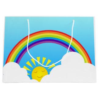 Sol y nubes del arco iris bolsa de regalo grande