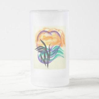 sol y palma taza de cristal