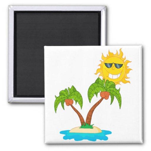sol y palmeras de la isla del dibujo animado imán cuadrado