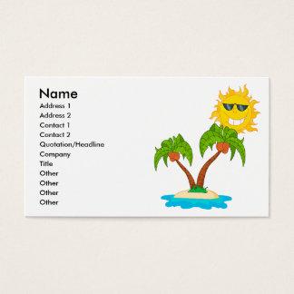 sol y palmeras de la isla del dibujo animado tarjetas de visita