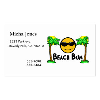 Sol y palmeras del vago de la playa tarjetas de visita