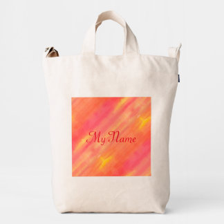 Sol-Yellow and orange ombre watercolor art Duck Bag