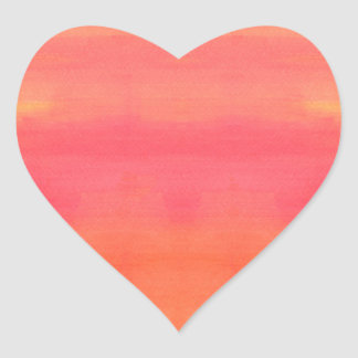Sol-Yellow and orange ombre watercolor art Heart Sticker