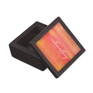 Sol-Yellow and orange ombre watercolor art Premium Keepsake Boxes