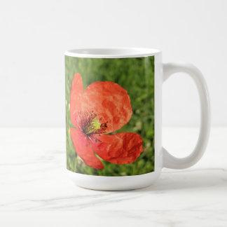 Sola amapola roja en jardín tazas de café