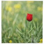 Sola amapola roja servilletas de papel