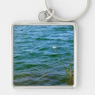 Sola charca de la caña del agua de la flor blanca llavero personalizado