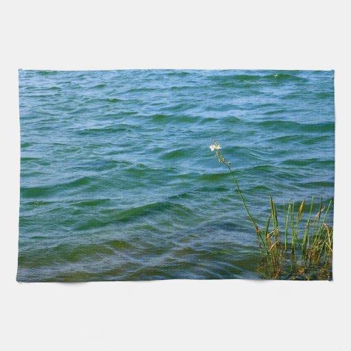 Sola charca de la caña del agua de la flor blanca toalla de mano