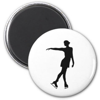 Sola figura negro y blanco del patinador iman para frigorífico