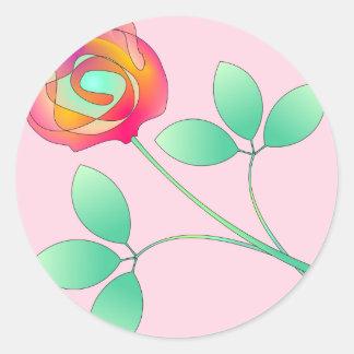 Sola flor etiqueta redonda