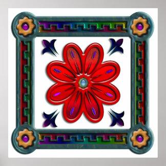 Sola flor roja en la impresión de la caja impresiones