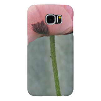 Sola flor rosada vertical en Backgo texturizado Fundas Samsung Galaxy S6