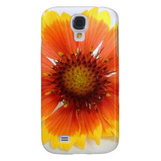 Sola flor vibrante coloreada en amarillo y naranja funda para galaxy s4