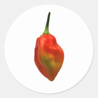 Sola fotografía de la pimienta de Habernero Pegatina Redonda