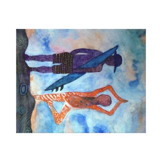 Sola impresión de la yoga de la puesta del sol lona estirada galerías